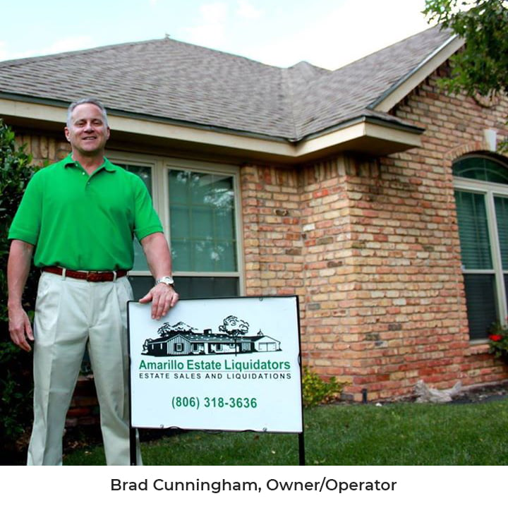 Brad Cunningham standing in front of home with Amarillo Estate Liquidators Sign